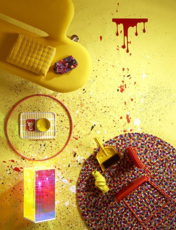 Styling sárga és vörös színekkel