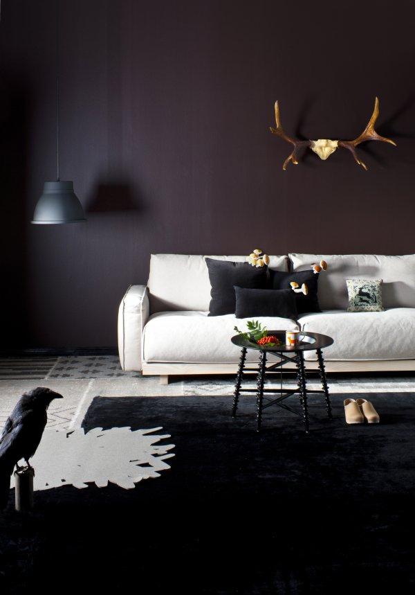 Sötét tónusú nappali finn design