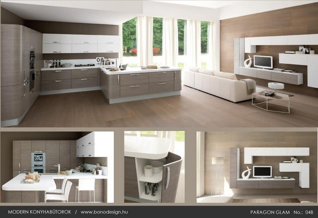 Colombini Paragon Glam olasz konyhabútor és nappali bútor egyforma színben