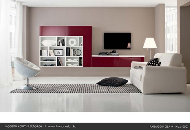 Colombini Paragon Glam piros olasz nappali szekrény