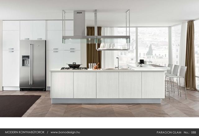 Colombini Paragon Glam olasz konyhabútor fehér szigetes kialakítás