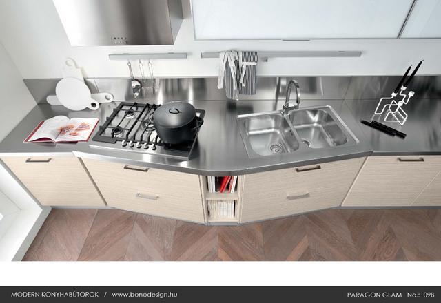 Modern acél munkalap konyhába