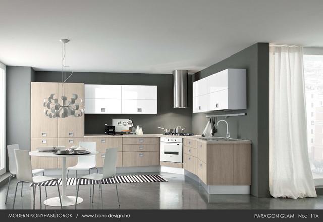 Modern konyha sarokba épített sütő