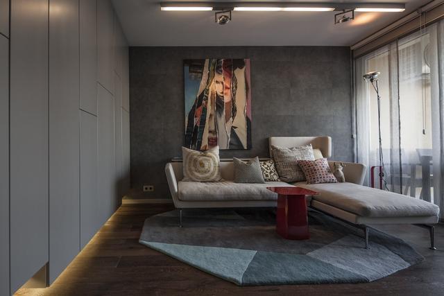 Modern nappali világító gardróbokkalSütő enteriőr