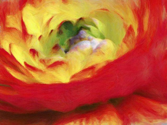 Festmény virágszirmok