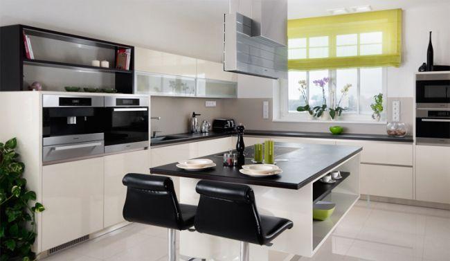 Modern fekete és fehér konyhabútor