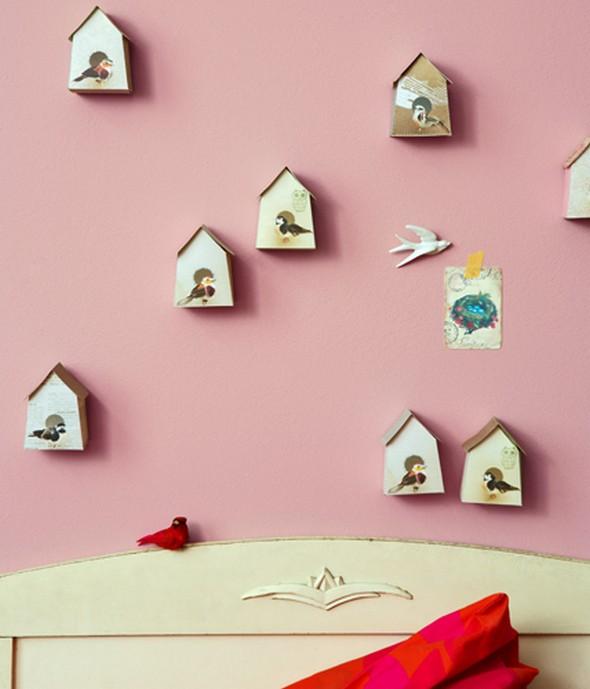 Madárház dekoráció gyerekszobába ágy fölé