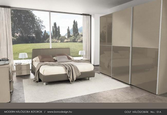 Modern hálószoba és tolóajtós gardrób