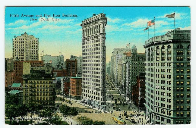 Flatiron Building New York korabeli képeslap
