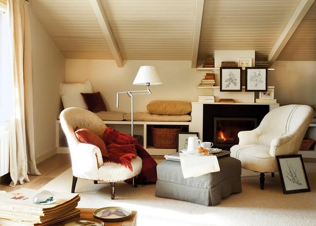 Tetőtéri bútorok fotelek és olvasósarok