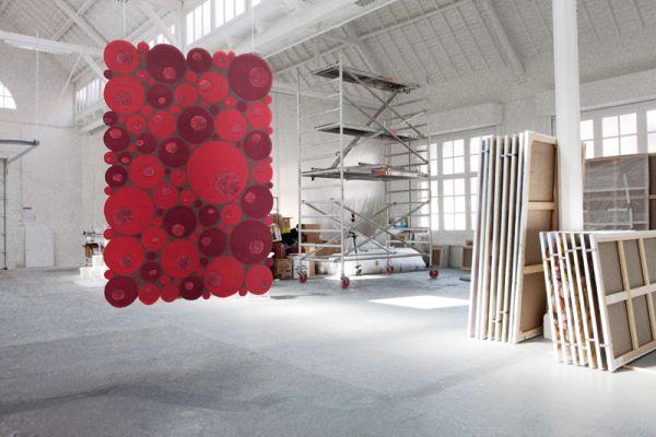 Piros mintás modern szőnyeg