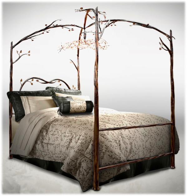 Kovácsoltvas ágy faág és levél mintákkal