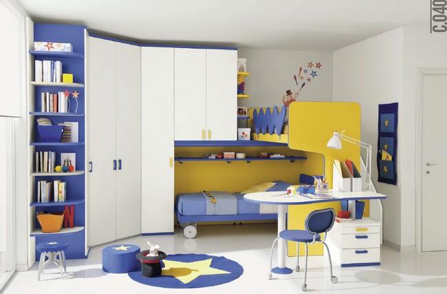 Kék és fehér és sárga gyerekszoba bútor összeállítás