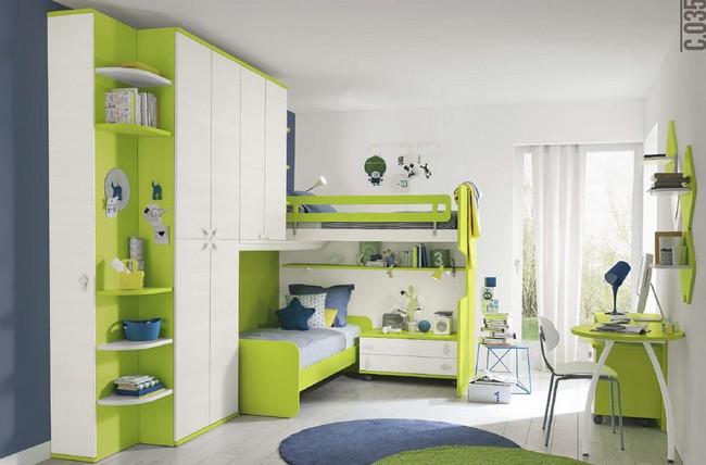 Zöld, világoszöld gyerekszobai olasz bútor kombináció