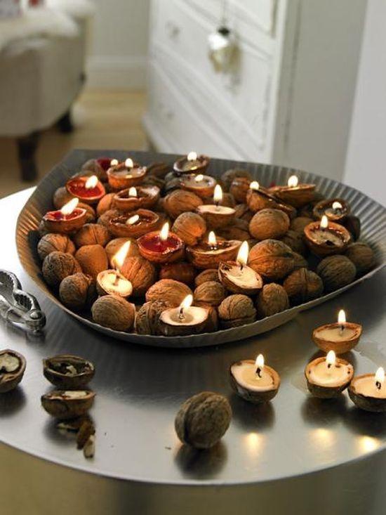 Mécsestál őszi asztali dekoráció