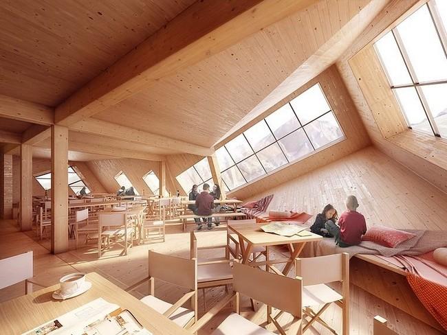 Kežmarská Hut belső fa borítás napenergiával fűtik