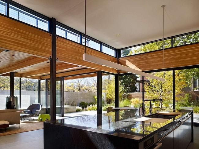 Fényes felületű konyhasziget