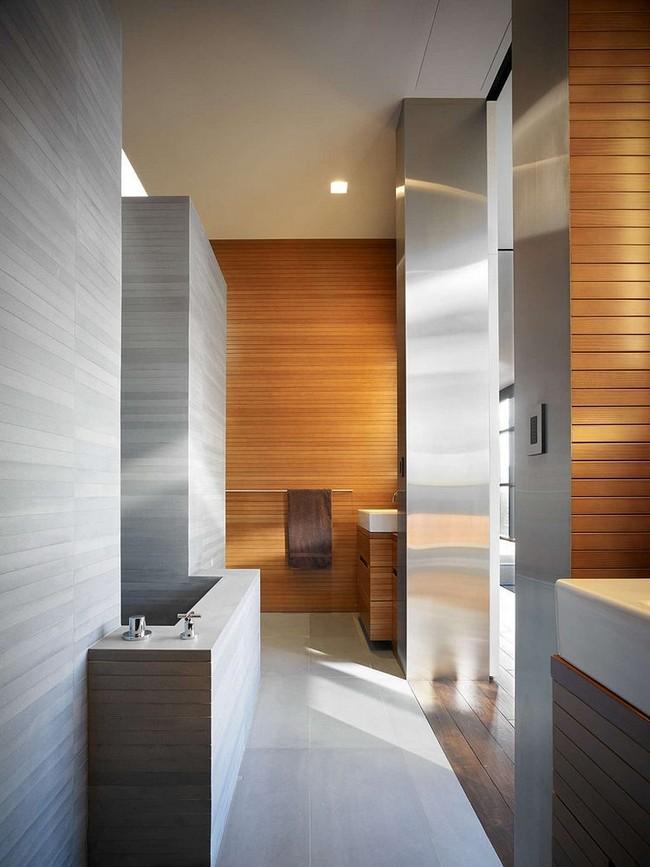 Minimál fürdőszoba fa és beton egysége