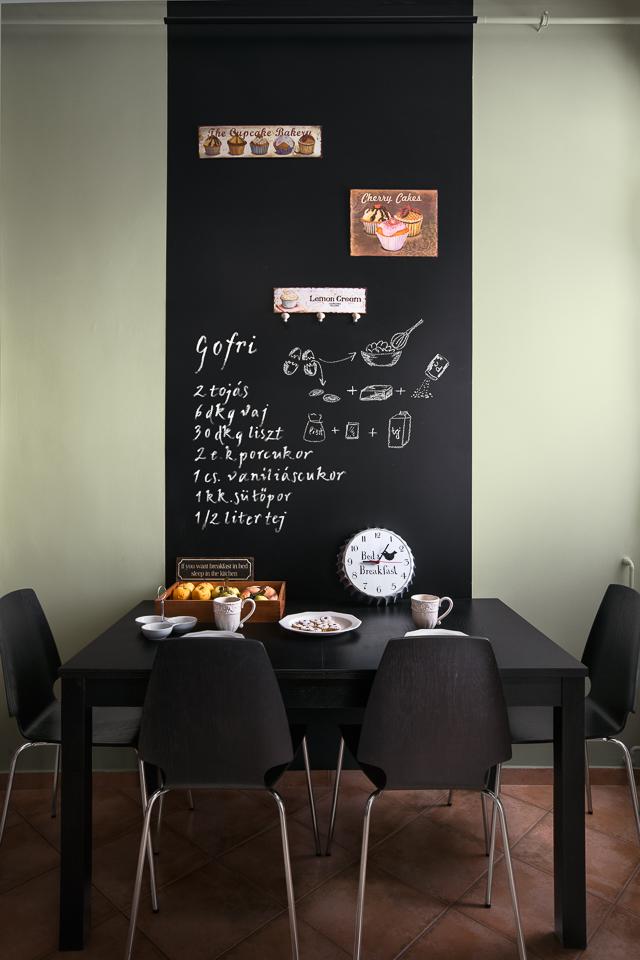 Fekete étkező táblafestékes fal