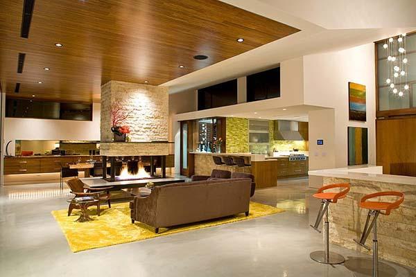 Sárga szőnyeg a nappaliba, kőburkolat dekoráció
