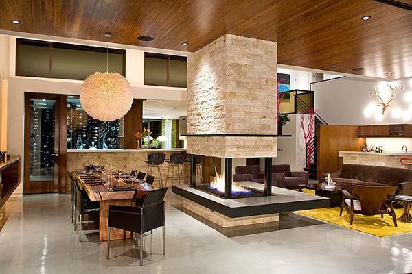 Kőburkolat a nappalin, látványkandalló