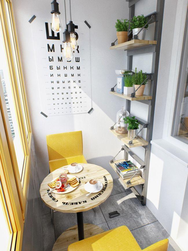 Kis terasz kerek reggelizőasztal és falipolc