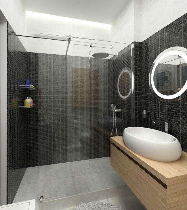 Kis alapterületű fürdőszoba fekete mozaikkal