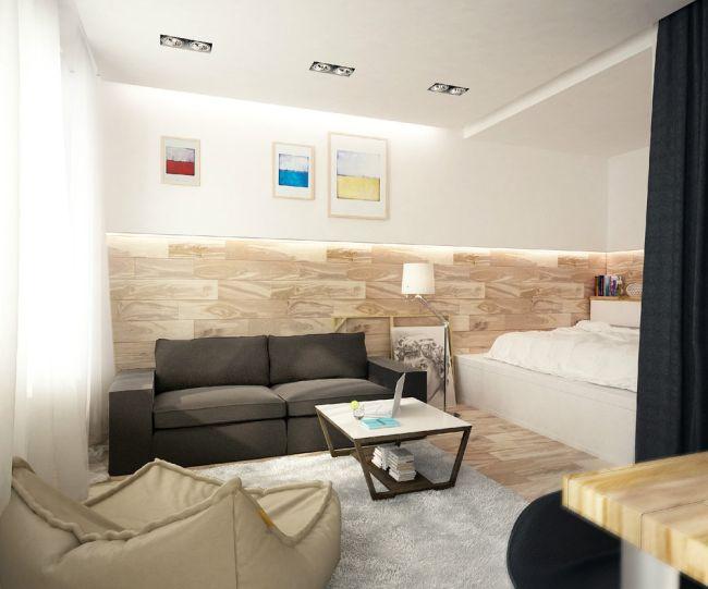 Nappali és hálószoba kis lakásban