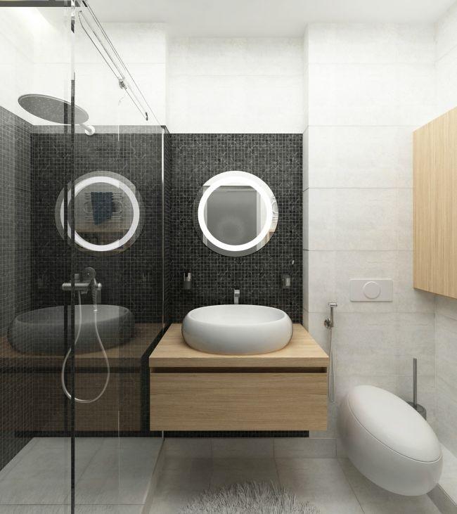 Fa mosdópult fekete mozaikkal