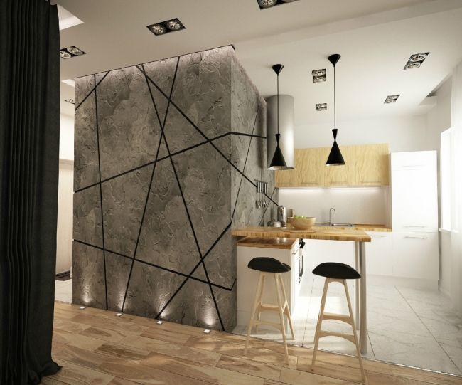 Különleges beton hatású falburkolat konyhába - konyhafal
