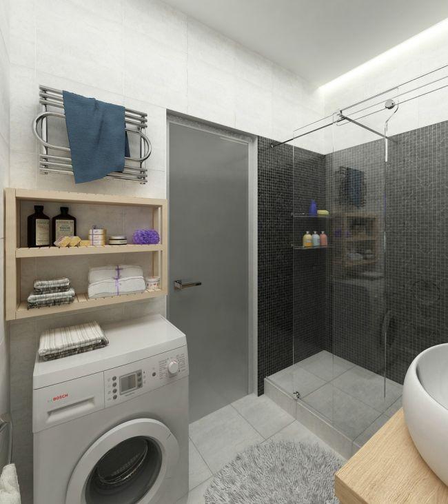 Modern fürdőszoba mosogép tárolás