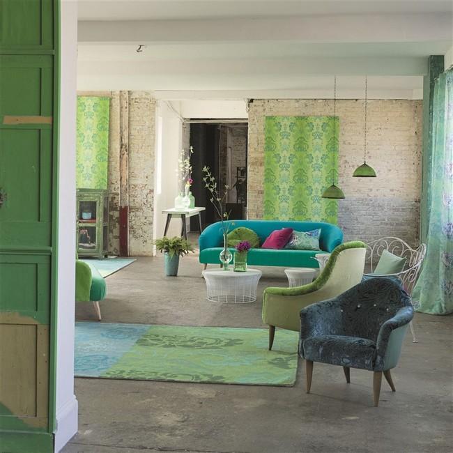 Kékes, zöldes designers Guild szőnyeg és bútorszövet