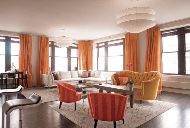 Nappali narancssárga függönyökkel mosás kézzel vagy géppel