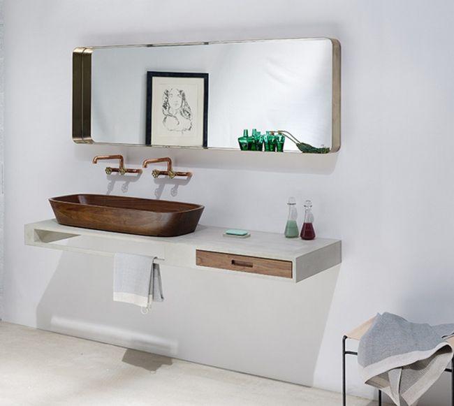 Fa mosdó modern mosdópult, réz csaptelep