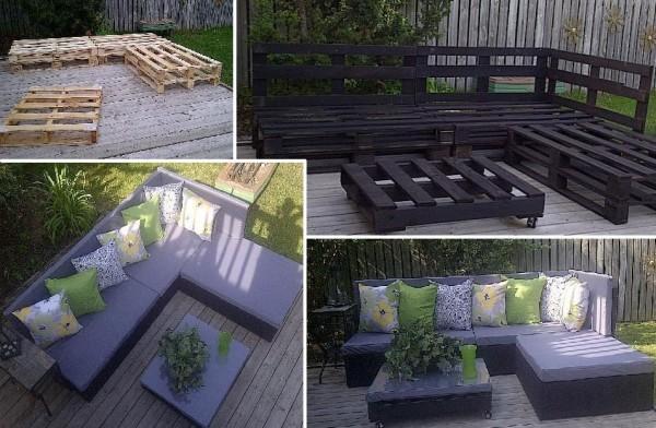 Raklap kanapé és asztal kertbe