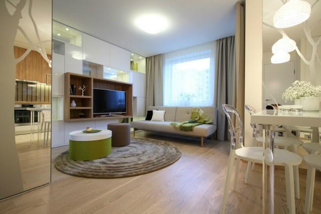 Kis nappali kinyitható kanapéval