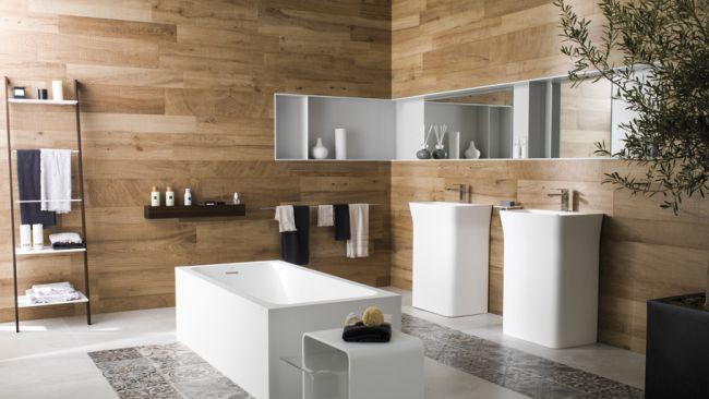 Cementlap minták és fa természetes hatása az új Porcelanosa burkolatokon