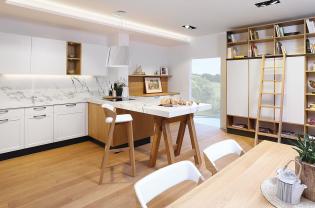 Tölgy színnel kombinált fehér - Sykora konyhabútor újdonságok