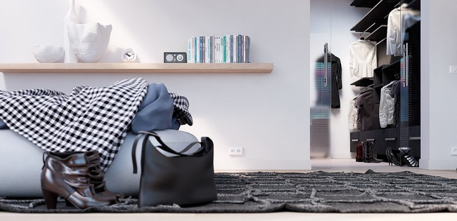 Egyszerű könyvespolc hálószobában éjjeliszekrény helyett