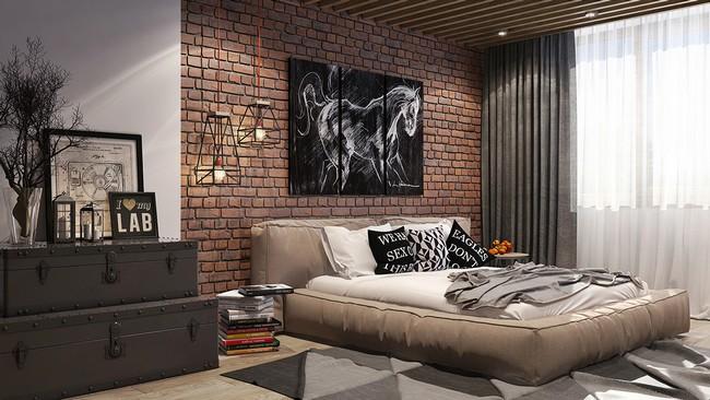 Modern macsós hálószoba téglafallal