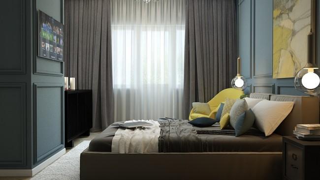 Visszafogott modern városi stílusú hálószoba sötétebb színekkel
