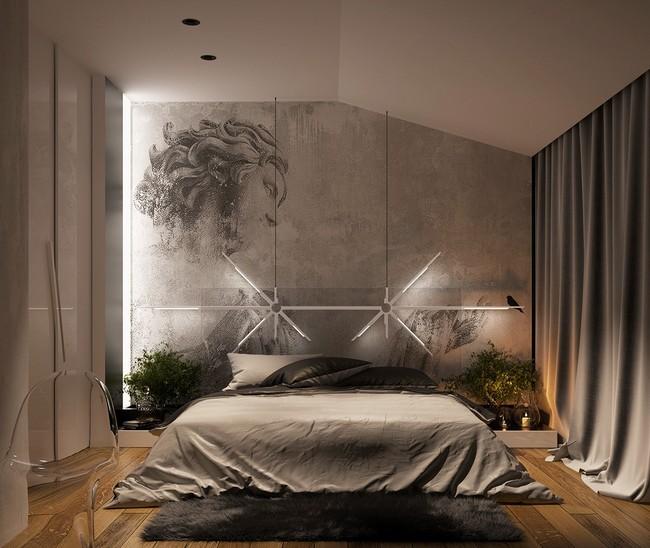 Taupe színű hálószoba high end férfias