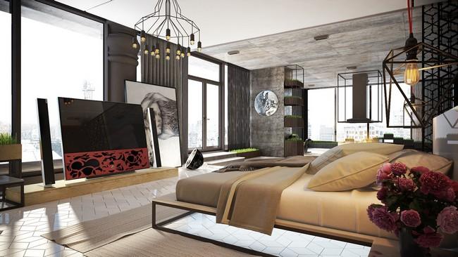 Modern városi stílusú hálószoba
