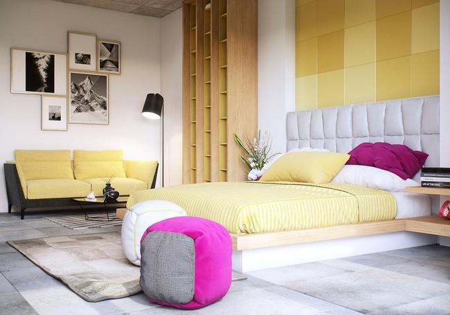 Fehér franciaágy sárga kanapé