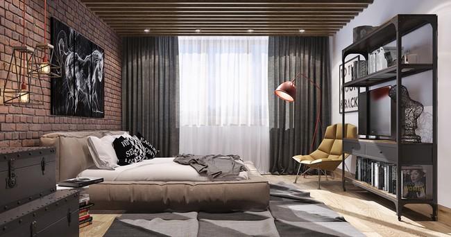 Férfias hálószoba design sárga fotelell