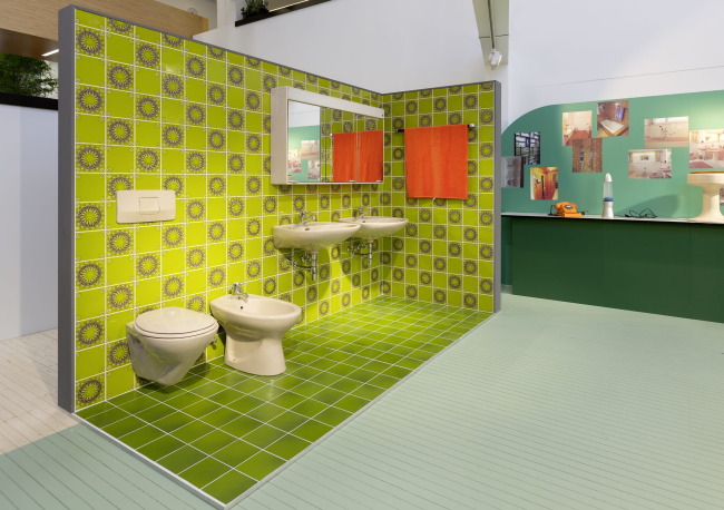 Retro fürdőszoba hetvenes évek Hansgrohe Aquakadémia