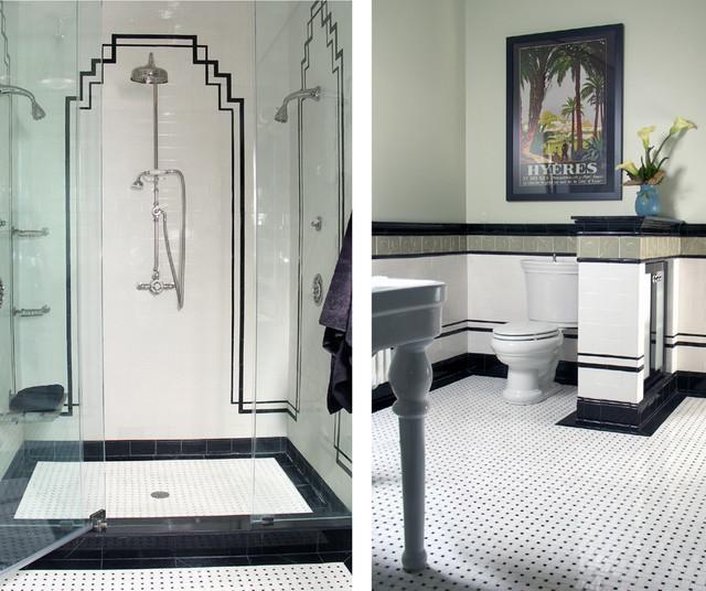 Art deco fürdőszoba inspiráció fekete fehér