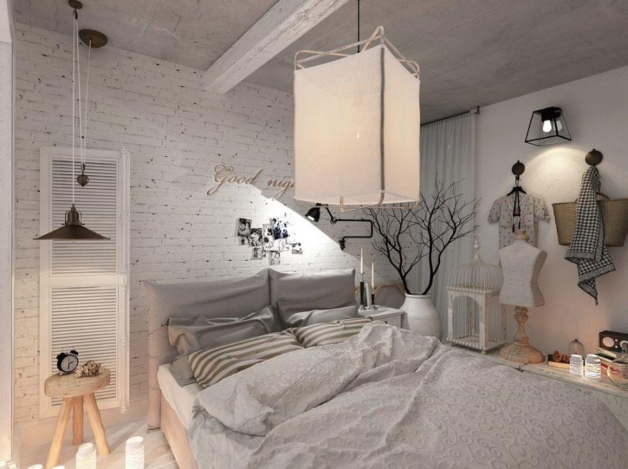 Kis lakás városi stílusban, természetes lakberendezési kiegészítőkkel