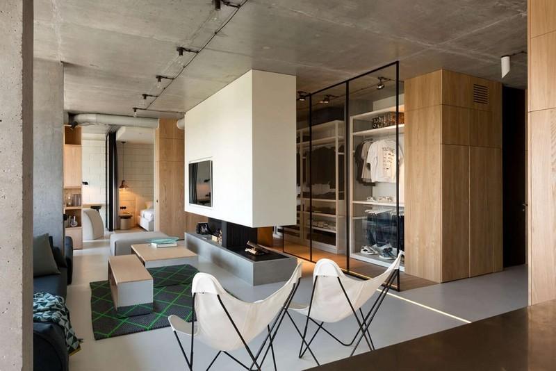 Modern nappali és gardrób