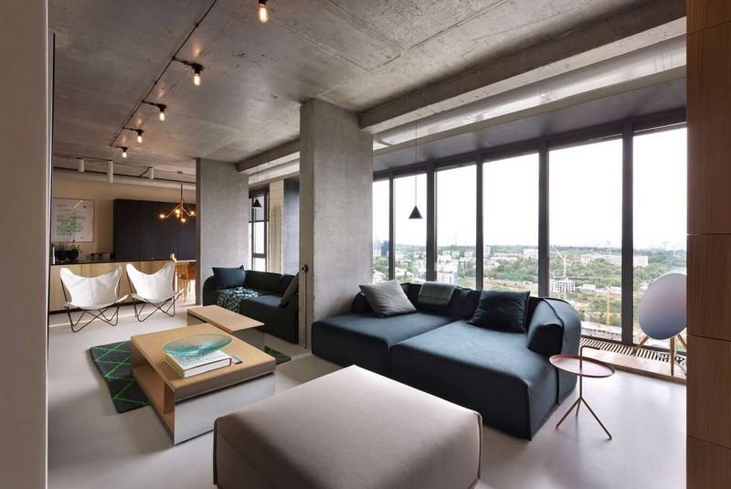 Minimál nappali betonoszlopokkal